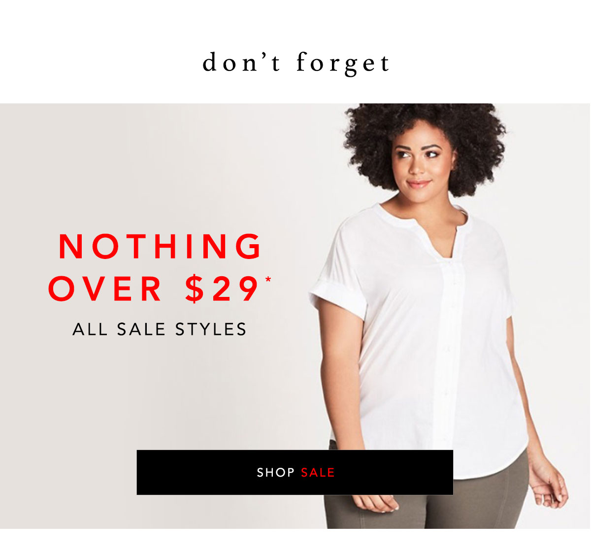 Sale - Nothing Over $29 Continues